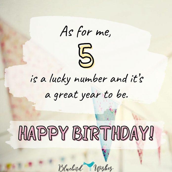 5th birthday greetings